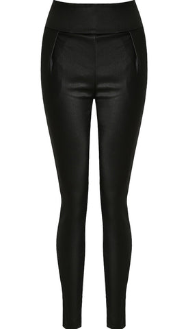 Black Pleated Back Zip Up Wet Look Trousers