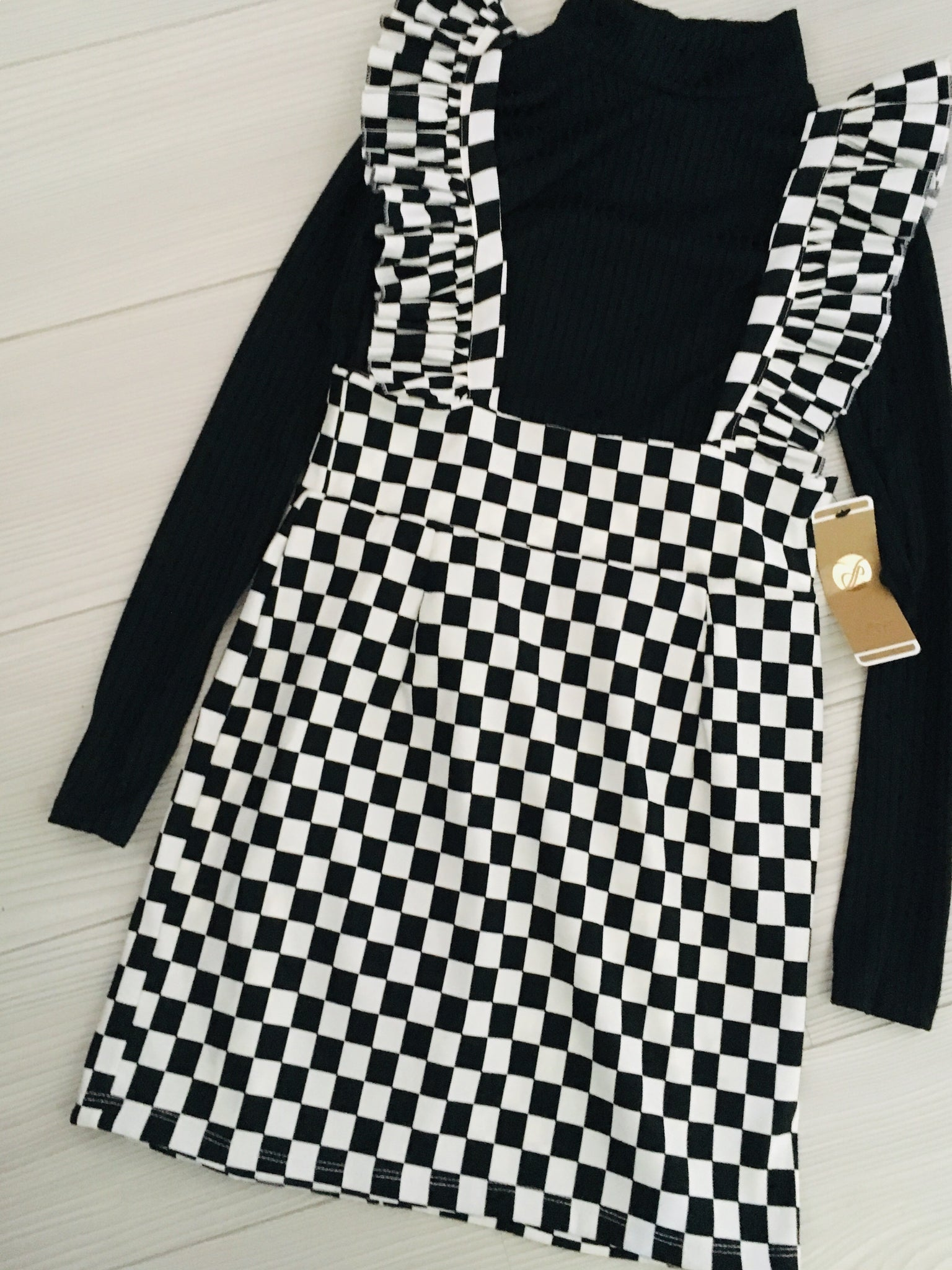 Monochrome Print Pinafore Dress