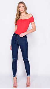 Red Skinny Rib Bardot Bodysuit Sale