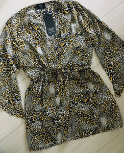 Animal Print Tie Front Mini Dress Sale