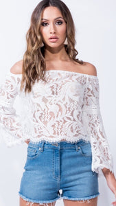 White Lace Bardot Top Sale