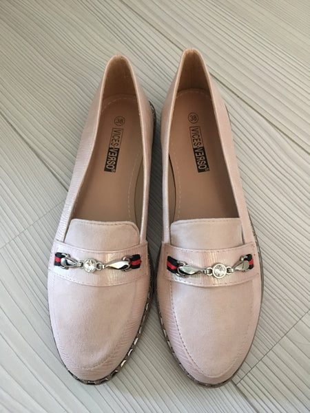 Dusty Pink Diamante Leather Look Loafers