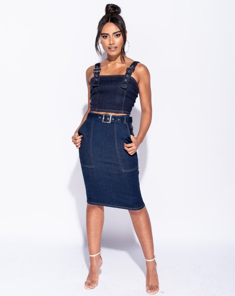 Denim Buckle Belt Midi Skirt