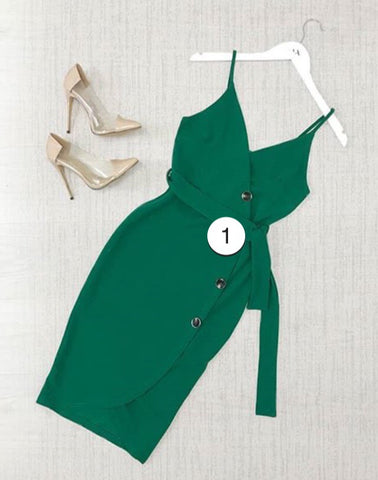 Green Button Front Midi Dress