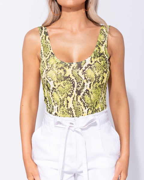 Snake Print Scoop Neck Bodysuit