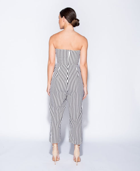 Strapless Cut Out Detail Stripe Jumpsuit Sale