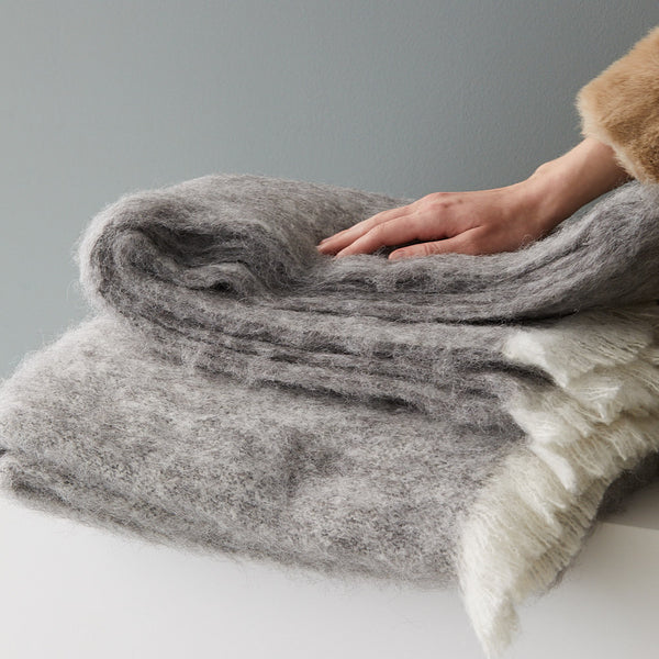 Alpaca Brushed Throw - Granite | Masterweave
