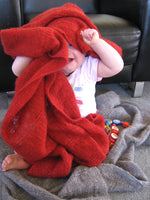 Stansborough Knitted Baby Buggy Blanket in Fun Red