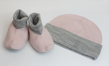 Merino Kids Beanie and Bootie Set in Pink