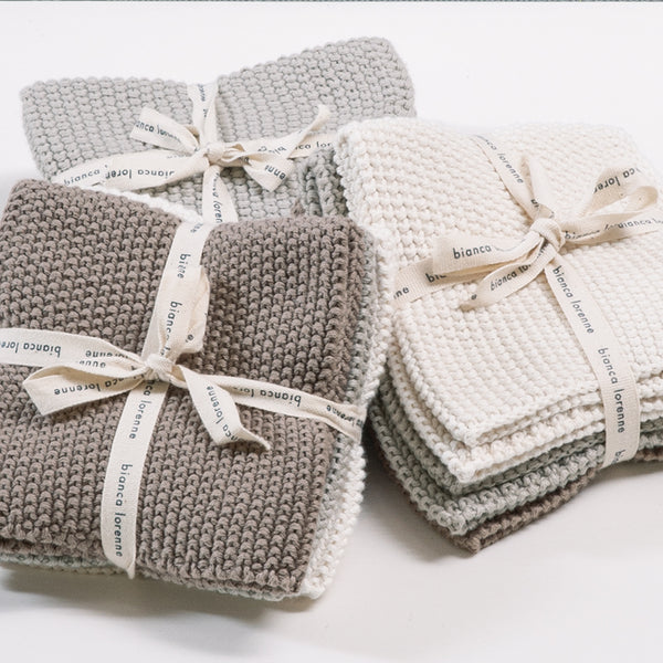 Bianca Lorenne Knitted Cotton Washcloths Set of 3 Taupe