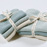 Bianca Lorenne Knitted Cotton Washcloths Set of 3 Duck Egg Blue