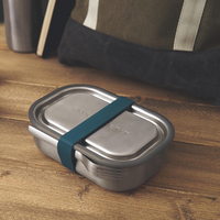 Box Appetit Stainless Steel Lunch Box with Ocean Strap Closed