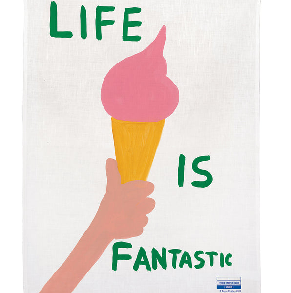 David Shrigley Life is Fantastic Linen Tea Towel