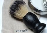 Close up of Meraki Mens Shaving Brush