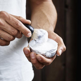 Meraki Mens Shaving Brush being used with Shaving Soap