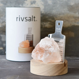 Rivsalt Natural Himalayan Salt with Wood Stand and Stainless Steel Grater Gift Pack