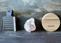 Rivsalt Natural Himalayan Salt with Wood Stand and Stainless Steel Grater Gift Pack Pieces