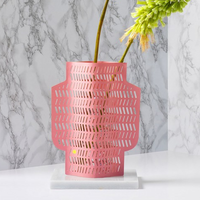 Octaevo Pink Aurea Paper Vase with Flowers in Vase