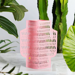 Octaevo Pink Aurea Paper Vase with Leaves