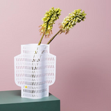 Octaevo White Aurea Paper Vase with Flowers