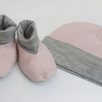 Merino Kids Beanie and Bootie Set in Pink Crop