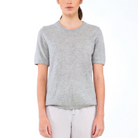 Laing Jasper Cashmere Tee Grey Marle Front