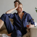 Laing Frank Cotton Pyjama Set Navy in Context at Home