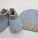 Merino Kids Beanie and Bootie Set in Sky Blue crop