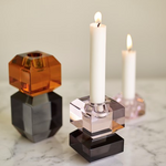 Glass Candlestick Pink and Smoke | Hübsch Interiors