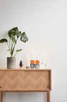 Glass Candlestick Amber and Smoke | Hübsch Interiors