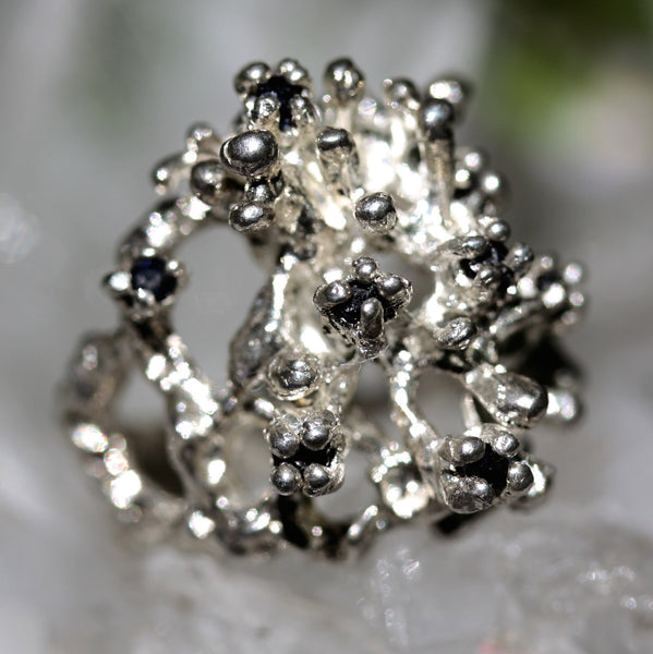 Sparkle Tree Ring - Rough Black Diamonds | Zora Bell Boyd