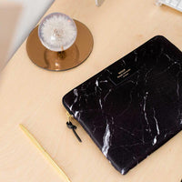 Wouf Laptop Sleeve Black Marble On Desk