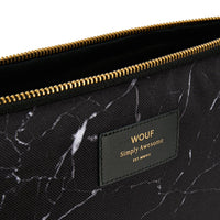 Wouf Laptop Sleeve Black Marble Zip Detail Top