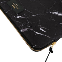 Wouf Laptop Sleeve Black Marble Zip Detail
