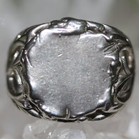 Zora Bell Boyd Jungle Vine Signet Ring - Recycled Silver crop