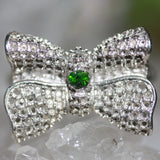 Zora Bell Boyd Bow Ring with Natural Green Chrome Diopse crop