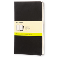 Moleskine Cahier Unlined Journal Set of Three Black Front Cover
