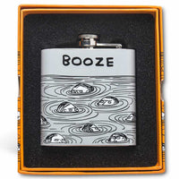 David Shrigley Stainless Steel 6oz Booze Hip Flask in Gift Box
