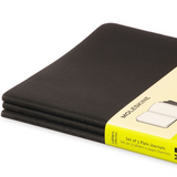 Moleskine Cahier Unlined Journal Set of Three Black Binding Side View