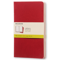 Moleskine Cahier Unlined Journal Set of Three Red Front Cover