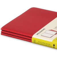 Moleskine Cahier Unlined Journal Set of Three Red Binding Side View