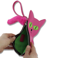 David Shrigley Embroidered Cat Purse Open