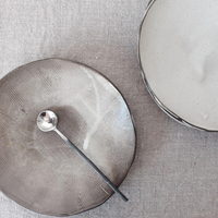 Fume Ceramic Shallow Dish from above with spoon