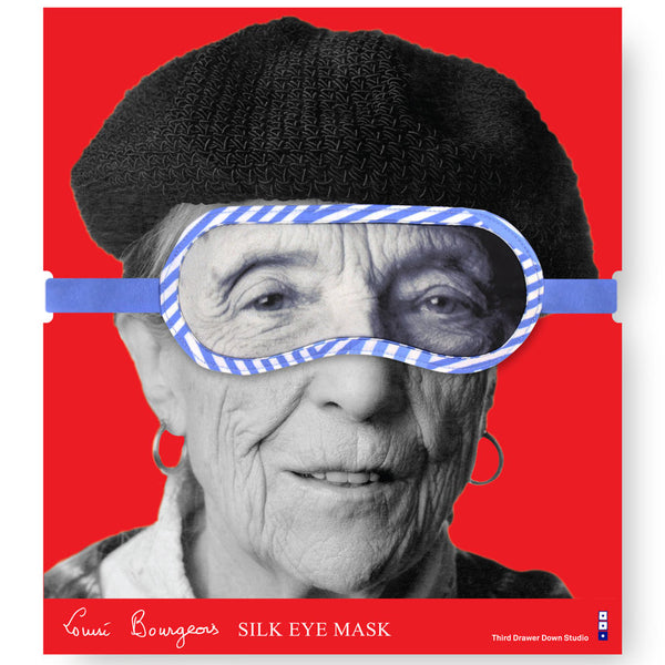 Louise Bourgeois 100% Silk Portrait Eye Mask Packaging