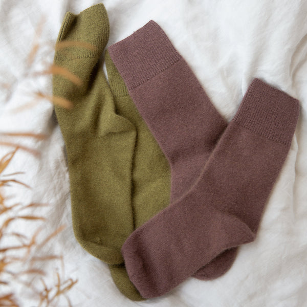 General Sleep Cashmere Bed Socks in Moss and Dusk