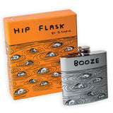 David Shrigley Stainless Steel 6oz Booze Hip Flask with Gift Box