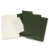 Moleskine Cahier Unlined Journal Set of Three Mrytle Green Inside Back Cover with Pocket