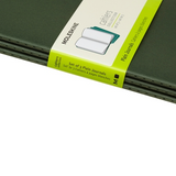 Moleskine Cahier Unlined Journal Set of Three Mrytle Green Binding Side View