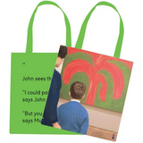 We Go To The Gallery John Sees The Painting Tote Bag Front and Back