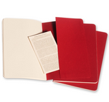 Moleskine Cahier Unlined Journal Set of Three Red Inside Back Cover with Pocket
